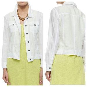 Eileen Fisher Organic Linen Jean Jacket in White